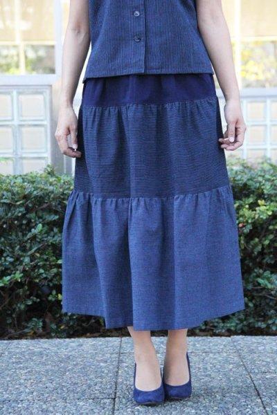 画像1: ティアードスカート(吉田縞・細縞) (1)