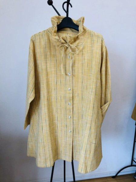 画像1: リボンジャケット白樺黄チェック (1)